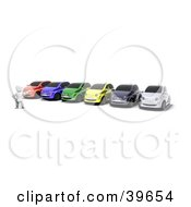 Clipart Illustration Of A Car Salesman Presenting A Colorful Line Of Vehicles For Sale Or Rent