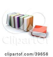 Clipart Illustration Of An Orange Library Book Resting Beside Standing Books by KJ Pargeter