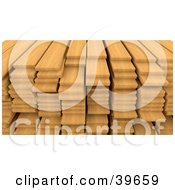 Clipart Illustration Of Stacked Oak Wood Planks