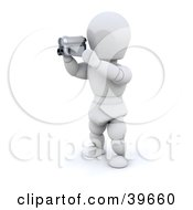 Clipart Illustration Of A 3d White Character Catching A Film With A Handy Cam