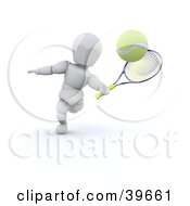 Clipart Illustration Of A 3d White Character Whacking A Tennis Ball With A Racket by KJ Pargeter