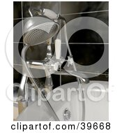 Lipart Illustration Of A Silver Shower Head Attached To A Bath Tub