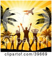 Clipart Illustration Of Silhouetted Men And Women Waving Goodbye To An Airplane While Dancing At A Beach Party Under Palm Trees by KJ Pargeter