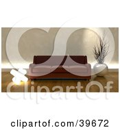 Clipart Illustration Of A Brown Sofa Couch With Home Decor In A Modern Living Room With Wood Flooring by KJ Pargeter