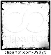 Clipart Illustration Of A Grunge White Background Bordered In Black Splatter Grunge