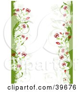 Clipart Illustration Of A Side Stationery Border Of Red Flowers Emerging From Green Grunge On White With Faint Vines