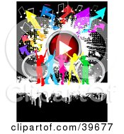 Clipart Illustration Of A Group Of Colorful Silhouetted Ladies Dancing With Speakers A Play Button Music Notes And Arrows