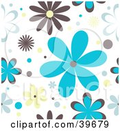 Clipart Illustration Of A Retro Brown Blue And Yellow Floral Background On White by KJ Pargeter