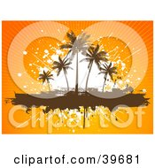 Bursting Orange Tropical Background Behind A White Splatter With Silhouetted Brown Palm Trees On A Text Box