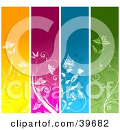 Clipart Illustration Of Four Orange Pink Blue And Green Vertical Floral Panels With White Plants