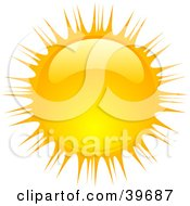 Clipart Illustration Of A Beaming Shiny Orange And Yellow Summer Sun