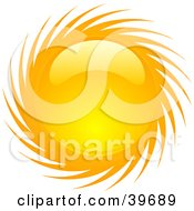 Clipart Illustration Of A Spiraling Shiny Orange And Yellow Summer Sun