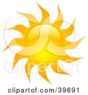 Clipart Illustration Of A Shiny Orange Summer Sun
