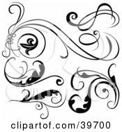 Poster, Art Print Of Six Black And White Scroll Designs