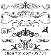 Clipart Illustration Of Five Black Lower Back Tattoo Or Website Divider Elements by dero #COLLC39701-0053