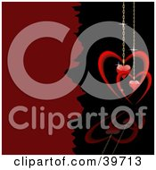 Clipart Illustration Of A Red Heart Pendants On Golden Chains Suspended Over A Black Reflective Surface by dero