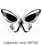 Clipart Illustration Of A Flying Butterfly In Black And White Its Wings Open by dero