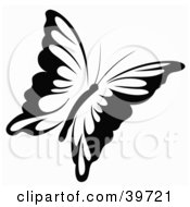 Clipart Illustration Of A Black And White Flying Butterfly by dero