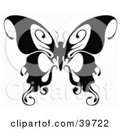 Clipart Illustration Of A Beautiful Black And White Butterfly With Curling Tips On Its Wings