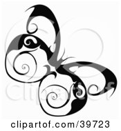 Clipart Illustration Of A Pretty Butterfly With Swirl Designs On Its Wings