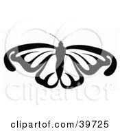 Clipart Illustration Of A Flying Black And White Butterfly by dero