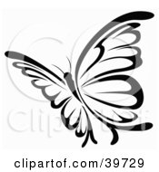 Clipart Illustration Of A Pretty Black And White Flying Butterfly by dero