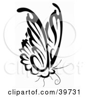 Clipart Illustration Of A Perched Black And White Butterfly by dero