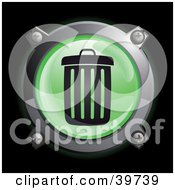Clipart Illustration Of A Chrome And Green Trash Can Icon Button