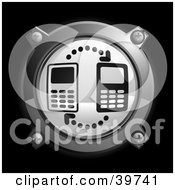 Clipart Illustration Of A Chrome And Gray Networking Cell Phones Icon Button