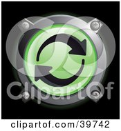 Clipart Illustration Of A Chrome And Green Recycle Or Green Energy Icon Button