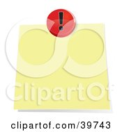Clipart Illustration Of A Red Exclamation Push Pin Tacking A Blank Sticky Note To A Wall by Frog974