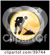 Clipart Illustration Of A Chrome And Yellow Road Construction Digging Icon Button by Frog974 #COLLC39744-0066