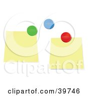 Clipart Illustration Of Two Blank Sticky Notes And Colorful Push Pins On A Bulletin Board