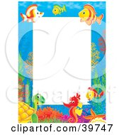 Clipart Illustration Of An Underwater Stationery Border Of Tropical Fish Turtles And Seahorses Socializing by Alex Bannykh