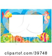 Clipart Illustration Of An Underwater Stationery Border Of Tropical Fish A Seahorse And Turtle At A Coral Reef by Alex Bannykh #COLLC39748-0056