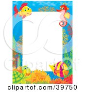 Clipart Illustration Of An Underwater Stationery Border Of A Friendly Sea Turtle Tropical Fish And Seahorse At A Coral Reef by Alex Bannykh