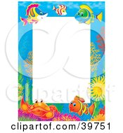 Clipart Illustration Of An Underwater Stationery Border Of Saltwater Fish And Crabs At A Reef by Alex Bannykh