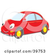 Clipart Illustration Of A Happy Red Compact Car With Big Eyes