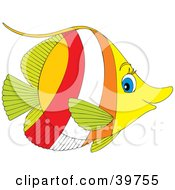 Clipart Illustration Of A Profile Of A Green Yellow Red White And Orange Fish