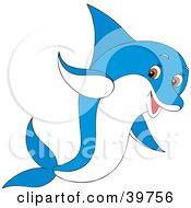 Clipart Illustration Of A Playful Blue And White Dolphin With Brown Eyes by Alex Bannykh
