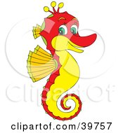 Clipart Illustration Of A Friendly Red Seahorse With A Yellow Belly And Green Eyes by Alex Bannykh