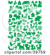 Clipart Illustration Of Green Silhouetted Animals