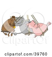 Clipart Illustration Of A Cow Elephant And Pig Swinging Together On A Playground
