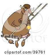 Clipart Illustration Of A Playful Brown Cow Swinging by djart