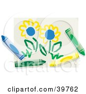 Childs Drawing Of Spring Flowers With Colorful Crayons
