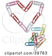 Clipart Illustration Of A Heart Made Of Pink Red And White Paperclips