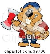 Lumberjack Beaver Holding An Axe And Preparing To Cut Wood