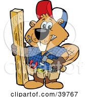 Clipart Illustration Of A Carpenter Beaver Building With Wood Biting Nails In His Mouth