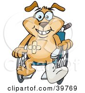 Clipart Illustration Of An Accident Prone Doggy Character Sitting In A Wheelchair