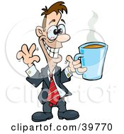 Hyper And Jittery Businessman With Red Eyes Holding Up A Cup Of Coffee